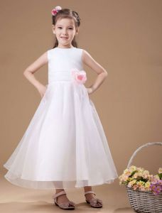 Classical White Satin Flower Girl Dress