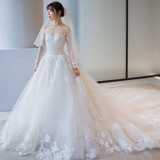 Chic / Beautiful White Wedding Dresses 2018 Ball Gown Lace Embroidered Scoop Neck Backless Long Sleeve Royal Train Wedding