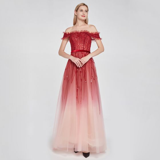 High-end Red Gradient-Color Prom Dresses 2020 A-Line / Princess Off-The-Shoulder Short Sleeve Sash Beading Sequins Sweep Train Ruffle Backless Formal Dresses