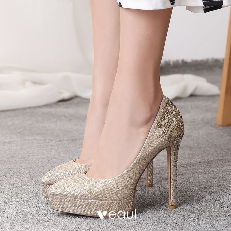 14821556404 Sparkly Gold Leather Wedding Shoes 2019 Rhinestone Sequins 12 cm ...