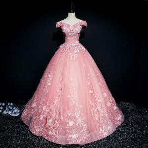 Hermoso Rosa Vestidos de gala 2017 Ball Gown Con Encaje Flor Perla Lentejuelas Fuera Del Hombro Sin Espalda Manga Corta Largos Vestidos Formales