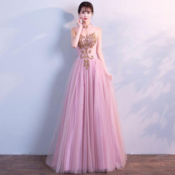 Mooie / Prachtige Candy Roze Galajurken 2018 A lijn Glans Rhinestone Ronde Hals Ruglooze Mouwloos Lange Gelegenheid Jurken