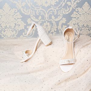 Amazing / Unique White Wedding Sandals 2019 7 cm Leather Beading Pearl Rhinestone Open / Peep Toe Stiletto Heels Wedding Shoes