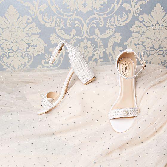 Amazing / Unique White Wedding Sandals 2019 7 cm Leather Beading Pearl Rhinestone Open / Peep Toe Stiletto Heels Wedding Shoes