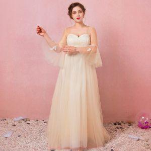 Moderne / Mode Champagne Grande Taille Robe De Soirée 2018 Princesse V-Cou Lacer Tulle Appliques Dos Nu Été Manches Longues Promo Soirée Robe De Ceremonie