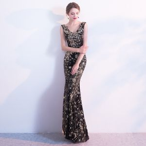 Sparkly Black Evening Dresses  2017 Trumpet / Mermaid V-Neck Backless Sequins Charmeuse Evening Party Party Dresses