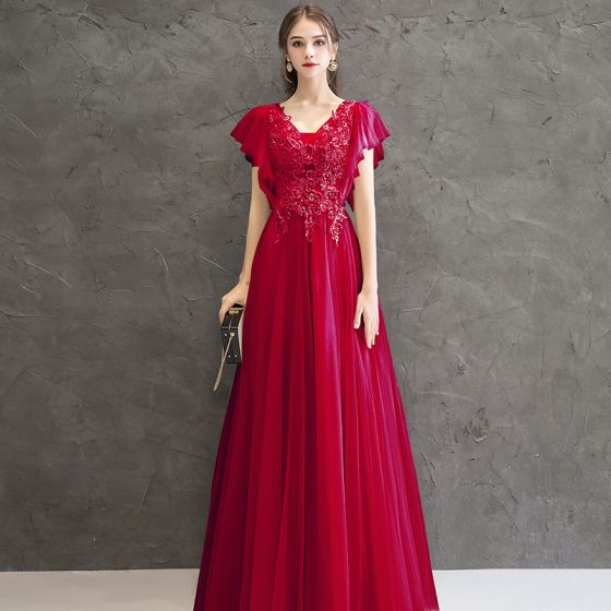 Chic / Beautiful Red Evening Dresses  2020 A-Line / Princess V-Neck Short Sleeve Appliques Beading Floor-Length / Long Ruffle Backless Formal Dresses