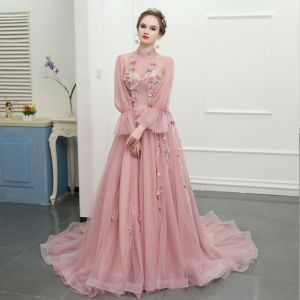 Chic / Beautiful Blushing Pink Cathedral Train Evening Dresses  2018 A-Line / Princess Tulle High Neck Printing Evening Party Prom Dresses