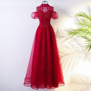 Chic / Belle Rouge Style Chinois Robe De Soirée 2017 Princesse Col Haut Manches Courtes Bretelles croisées Appliques Perlage Fleur Longue Soirée