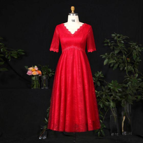 Proste / Simple Burgund Rozmiarze Plus Sukienki Wieczorowe 2021 Princessa V-Szyja 1/2 Rękawy Skrzyżowane Pasy Koronki 3D Jednolity kolor Aplikacje Bez Pleców Wieczorowe Krótkie Sukienki Wizytowe