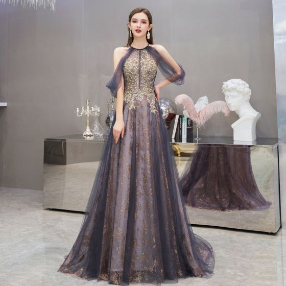 Fashion Purple Evening Dresses  2020 A-Line / Princess Scoop Neck Sleeveless Appliques Sequins Beading Sweep Train Ruffle Backless Formal Dresses