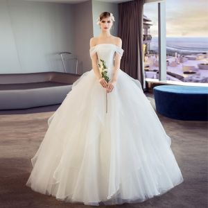 Elegant Ivory Wedding Dresses 2018 Ball Gown Ruffle Off-The-Shoulder Short Sleeve Floor-Length / Long Wedding