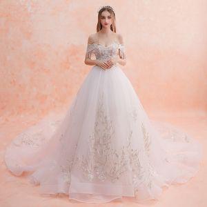 Elegant White Wedding Dresses 2019 A-Line / Princess Off-The-Shoulder Beading Tassel Lace Flower Short Sleeve Backless Royal Train