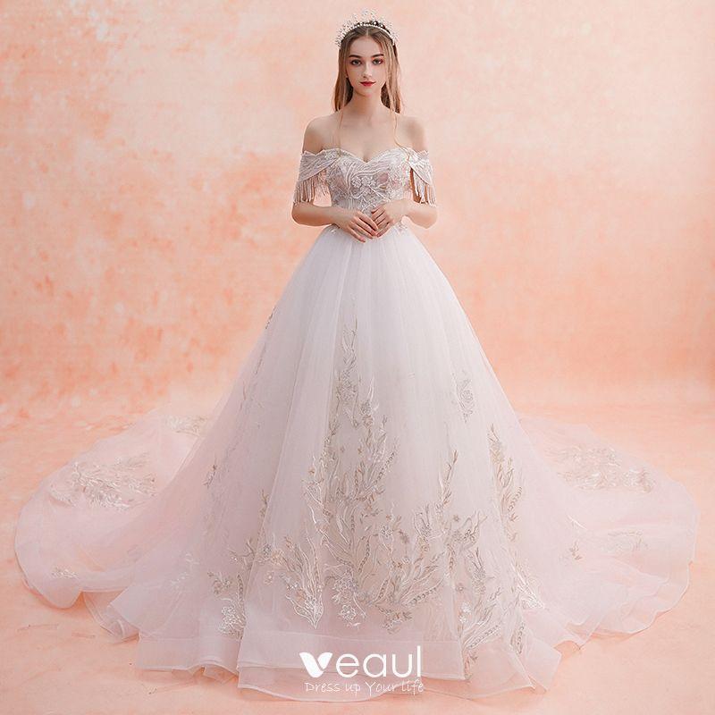 Elegant White Wedding Dresses 2019 A-Line / Princess Off