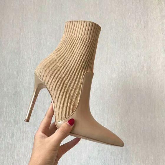 Schöne Khaki Freizeit Flechten Stiefel Damen 2020 10 cm Thick Heels Spitzschuh Stiefel