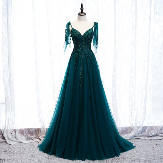 Best Dark Green Prom Dresses 2021 A-Line / Princess Spaghetti Straps Sleeveless Appliques Lace Beading Floor-Length / Long Ruffle Backless Formal Dresses