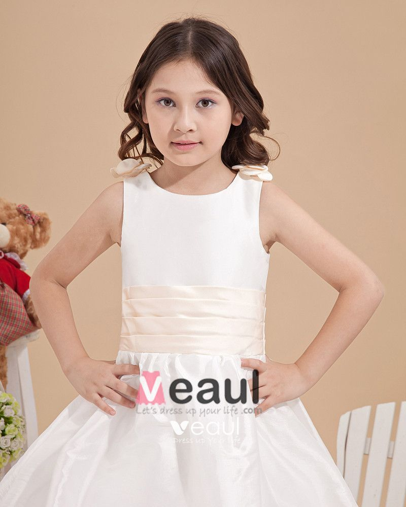Lovely Satin Ankle-Length Appliques Flower Girl Dresses