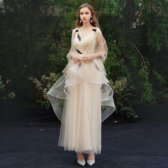 Eleganta Champagne Aftonklänningar 2019 Prinsessa Spaghettiband Spets Appliqués Ärmlös Halterneck Ankellång Formella Klänningar