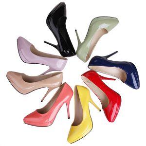 Klassische Lackleder Pumps 10cm Stilettos Damenschuhe High Heels