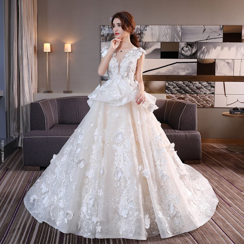 Chic / Beautiful Church Wedding Dresses 2017 Champagne Ball Gown Cathedral Train Scoop Neck Sleeveless Backless Lace Flower