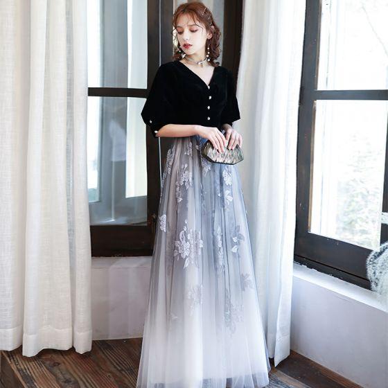 Classic Black Gradient-Color White Evening Dresses  2020 Princess V-Neck Puffy 1/2 Sleeves Glitter Printing Flower Floor-Length / Long Ruffle Backless Formal Dresses