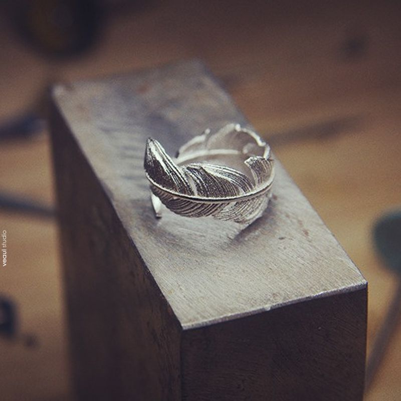 Modest / Simple Silver Feather Handmade  Faith Ring Sterling Silver Rave Club Rings 2019 Accessories