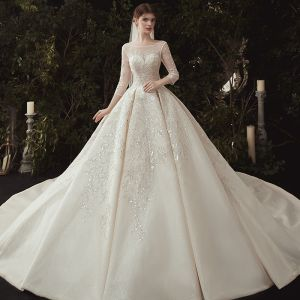 Luxury / Gorgeous Champagne Wedding Dresses 2020 Ball Gown Scoop Neck Beading Sequins Lace Flower Appliques 3/4 Sleeve Backless Royal Train