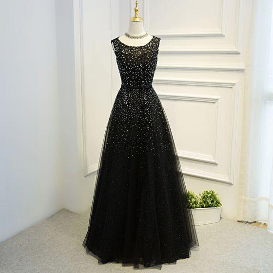 Najpiękniejsze / Ekskluzywne Czarne Sukienki Wizytowe 2017 Princessa Z Koronki Kwiat Kokarda Cekiny Bez Pleców Wycięciem Kótkie Rękawy Długie Sukienki Wieczorowe