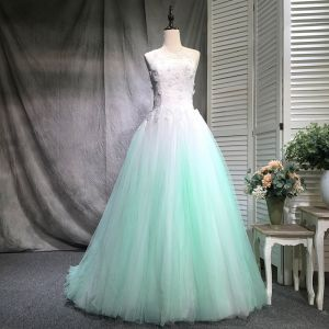 Chic / Beautiful Gradient-Color Prom Dresses 2018 Ball Gown Beading Appliques Lace Scoop Neck Backless Sleeveless Floor-Length / Long Formal Dresses