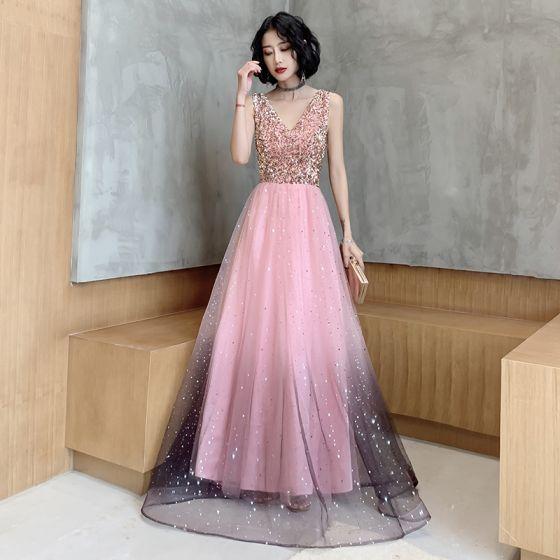 Fashion Candy Pink Evening Dresses  2020 A-Line / Princess Star Sequins V-Neck Sleeveless Backless Floor-Length / Long Formal Dresses