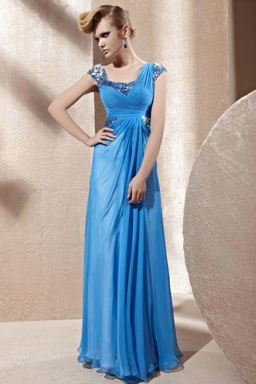 Square Collar Beading Sleeveless Backless Floor Length Tencel Woman Evening Dress
