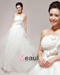 Ziemlich Applique Trägerlosen Satin Ballkleid Brautkleid