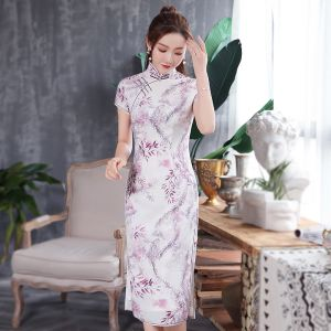 Chinese style White Cheongsam / Qipao 2020 High Neck Short Sleeve Flower Printing Polyester Tea-length Formal Dresses