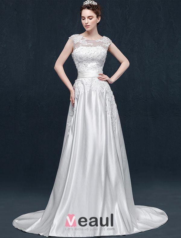 A-line Square Neckline Appliques Lace Ruffles Sash Satin Wedding Dress