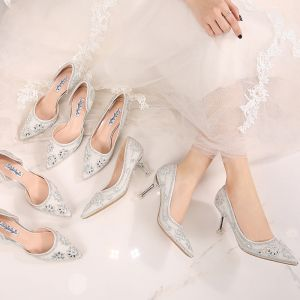 Modern / Fashion White Wedding Shoes 2019 8 cm Beading Polyester Crystal Pearl Rhinestone High Heels Pointed Toe Womens Shoes
