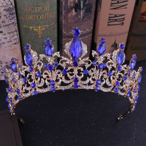 Vintage / Retro Royal Blue Rhinestone Tiara Bridal Hair Accessories 2020 Alloy Wedding Accessories