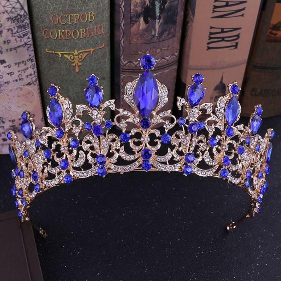 Vintage / Retro Royal Blue Rhinestone Tiara Bridal Hair Accessories 2020 Alloy Wedding Accessories