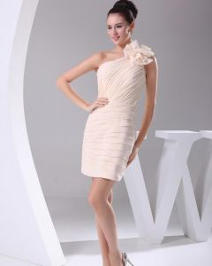 Chiffon Satin Silk Pleated Knee Length One-shoulder Bridesmaid Party Dresses