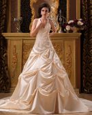Satin Applique Beading Halter Chapel A-Line V-neck Bridal Gown Wedding Dress