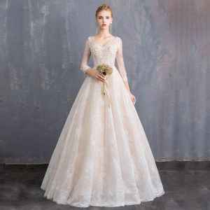 Bling Bling Champagne Wedding Dresses 2019 A-Line / Princess V-Neck 3/4 Sleeve Backless Appliques Lace Beading Sash Glitter Tulle Floor-Length / Long Ruffle