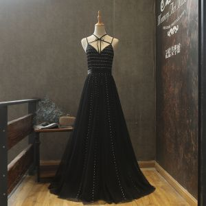 Modern / Fashion Black Summer Evening Dresses  2018 A-Line / Princess Spaghetti Straps Sleeveless Sash Beading Floor-Length / Long Ruffle Backless Formal Dresses