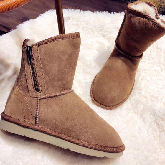 Schlicht Braun Schneestiefel 2020 Woll Leder Freizeit Garten / Im Freien Winter Ankle Boots Reißverschluss Wildleder Flat Runde Zeh Stiefel Damen