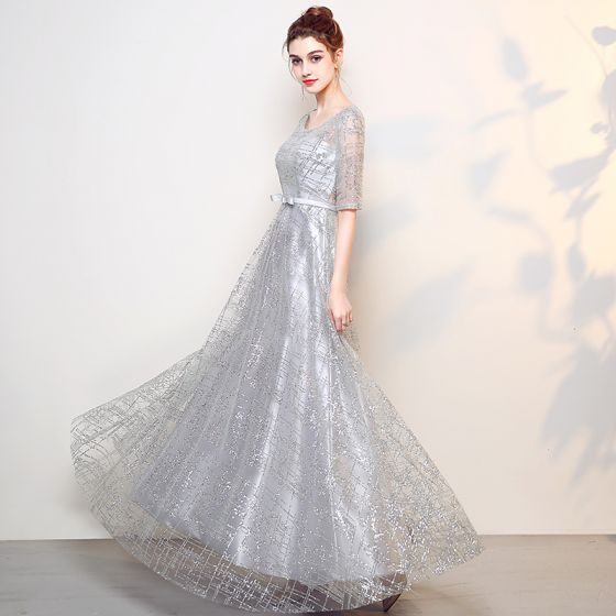 Sparkly Grey Evening Dresses  2017 A-Line / Princess Scoop Neck 1/2 Sleeves Rhinestone Bow Sash Floor-Length / Long Backless Formal Dresses