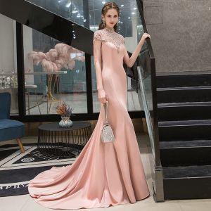 Haut de Gamme Rougissant Rose Robe De Soirée 2020 Trompette / Sirène Col Haut Perlage Gland Perle Faux Diamant Manches Courtes Train De Balayage Robe De Ceremonie