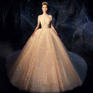 Luksusowe Błyszczące Kość Słoniowa Suknie Ślubne 2019 Suknia Balowa Przy Ramieniu Kótkie Rękawy Bez Pleców Cekinami Cekiny Trenem Katedra Wzburzyć
