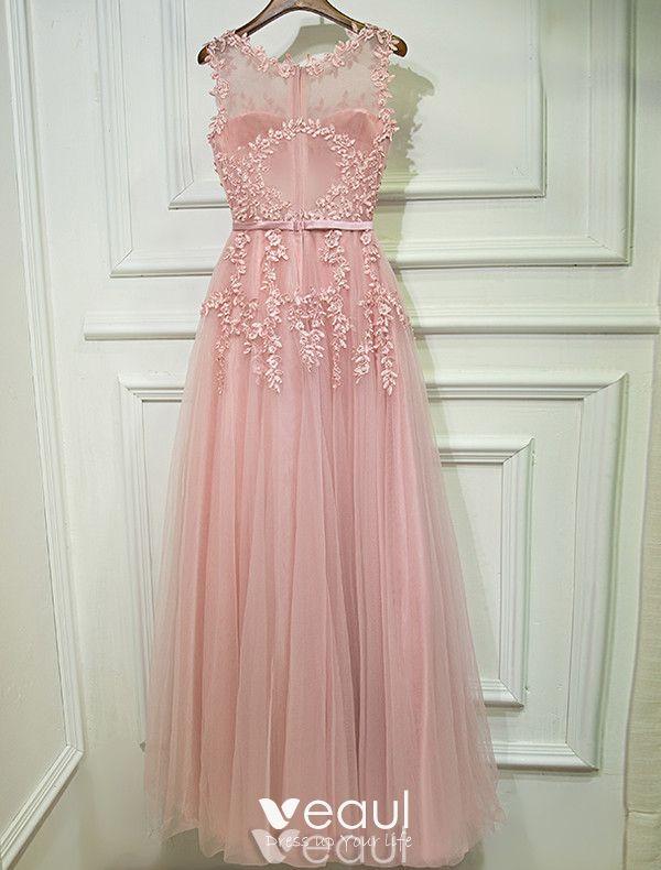 Vestidos De Noche 2017 Escote Scoop Applique Encaje Rebordear Perla Rosa Largo Vestido