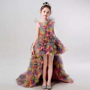 Rainbow Multi-Colors Birthday Flower Girl Dresses 2020 Ball Gown Scoop Neck Sleeveless Asymmetrical Cascading Ruffles