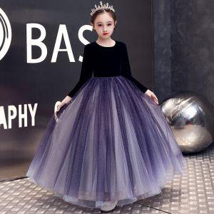 Elegantes Morado Terciopelo Invierno Cumpleaños Vestidos para niñas 2020 A-Line / Princess Scoop Escote Manga Larga Glitter Tul Largos Ruffle
