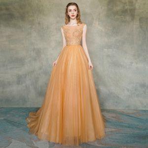 Illusion Orange Transparentes Robe De Soirée 2019 Princesse Encolure Carrée Sans Manches Appliques En Dentelle Ceinture Train De Balayage Volants Dos Nu Robe De Ceremonie