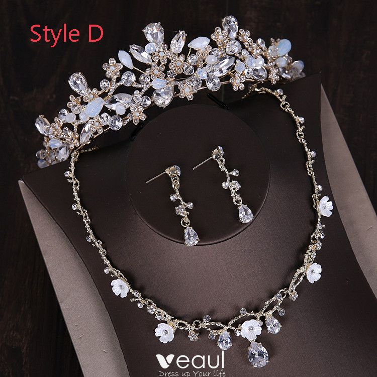 Chic Beautiful Silver Tiara Earrings Flower Necklace Bridal